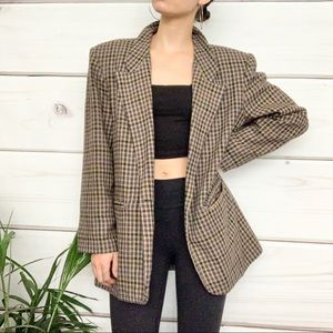 TWO ROADS Vintage Plaid Checkered Blazer